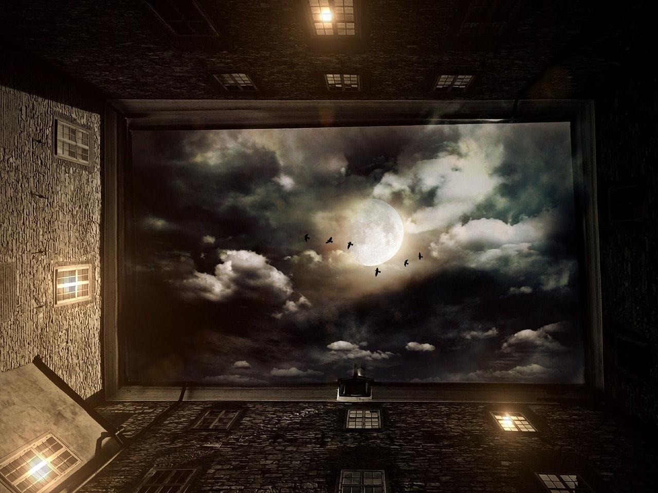 天井に宇宙空間が見える写真