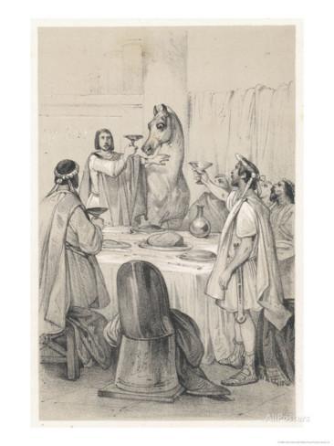 インキタトゥスを晩餐に参加させるカリギュラの絵